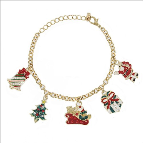 JOA Christmas Theme Multi Charm Bracelet #040144