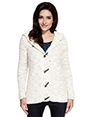 Per Una Toggle Fastening Flecked Chunky Knit Cardigan