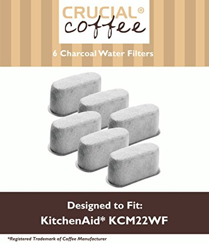 6 Premium KitchenAid Charcoal Coffee Filters, Fit KCM222 & KCM223 Water Filter Pod & Coffee Makers, Compare to Part # KCM22WF, by Think Crucial