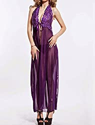 Nitein Women's Backless Night Gown With G String (Purple_Free Size)