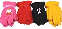 Four Pairs Mongolian Fleece Gloves for Ages 6-24 Months 1 Pair with Monogram