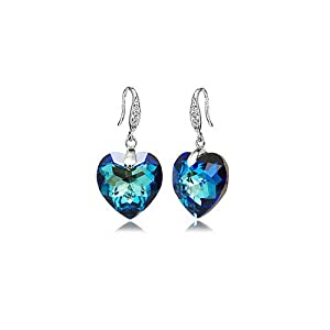 GoSparking Swarovski Elements Moonlight Blue Crystal Heart Sterling Silver Earrings with Austrian Crystal For Women ER28105