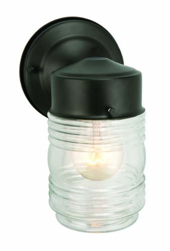 Design House 502195 Jelly Jar 1 Light Indoor/Outdoor Wall Light, Black (Outside Wall Fan compare prices)