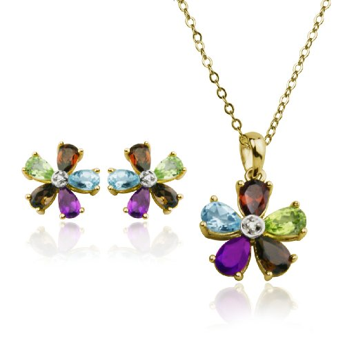 """Yellow Gold Plated Sterling Silver Multi-Gemstone Flower Earrings and Pendant Set, 18"""""""