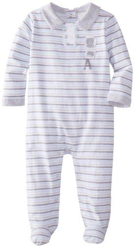 Absorba Baby-Boys Newborn Love Footie, Grey Stripe, 3-6 Months front-833801