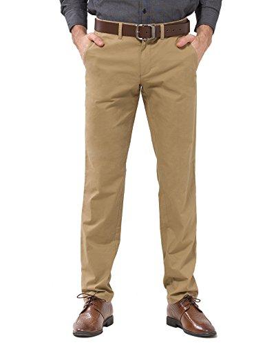 ADFOLF Men's Straight Fit Casual Dress Work Pleated Pants Flat Front Khaki 30*34