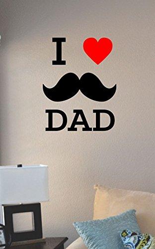 I Love Heart My Mustache Dad Vinyl Wall Art Decal Sticker front-1021180