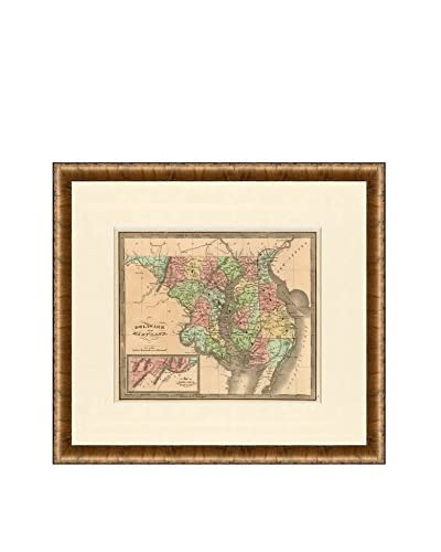 Map Antiquities Antique Map Of Delaware & Maryland, 1842, Multi
