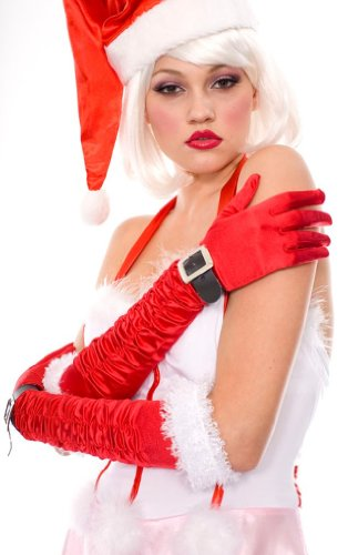 Holiday DELUXE Satin Elbow Length Gloves with gathers, holiday trim and buckle!