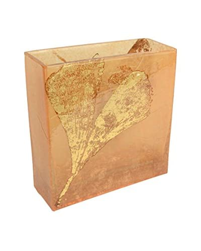 Uptown Down One-of-a-Kind Hand-Painted with Metallic Leaf Detail Glass Accent, Gingko Bark/Tea/Gold