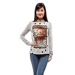 Orous Women's Body Blouse Long Sleeve Top (Sharon006_Polka and Leopard Print_Medium)