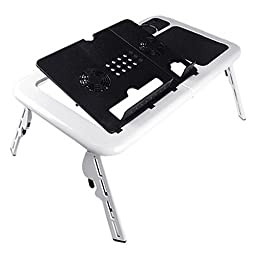 Fmail(TM) 360 Degree Adjustable Folding Laptop Desk Adjustable USB Notebook PC Table Stand Workstation Flexible with 2 Cooling Fans Mouse Pad Cup Holder Portable Used in Office Bed Chair on Sofa Floor