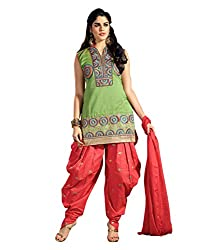 Divisha Fashions Womens Dress Material Red and Green Embroidered Cotton Dress Material with dupatta