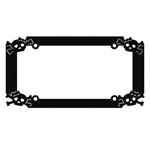 Black Powdercoat Car Truck License Plate Frame Rockabilly Emo Skull Girly Skull - 1 Piece - Ferreus Industries - LIC-111-Black