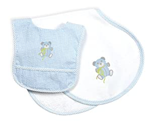 Chez Ami by Patsy Aiken Designs Layette Baby Bib & Burp Cloth Gift Set- White/Blue