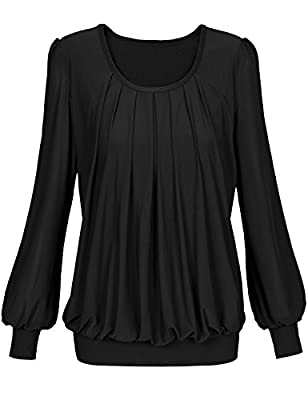 Timeson Womens Long Sleeve Scoop Neck Pleated Front Fitted Blouse Top
