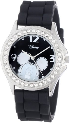 Disney Women's MK1094 Rhinestone Accent Mickey Mouse Black Rubber Strap Watch