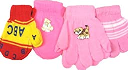 Set of Four Pairs Magic Mittens Gloves for Infants Ages 6 Mo to 4 Years.