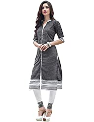 EthnicCrush Women's Cotton Printed Kurti(ECHTBinto1506,Black)