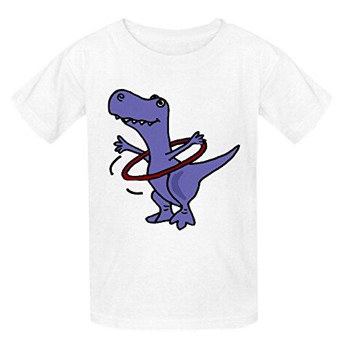 Moonflow Funny T Rex Dinosaur Playing Hula Hoop T Shirt Kids White