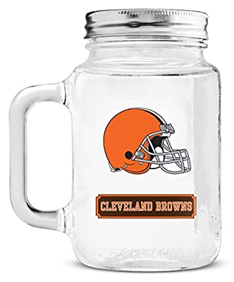 Cleveland Browns Official NFL 7.5 inch x 7.5 inch Mason Jar Glass Lid by Duck House 018119