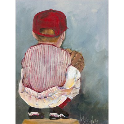 "Oopsy Daisy NB21026 Lil' Catcher Boy by Kristina Bass Bailey Canvas Wall Art, 24"" by 30"""