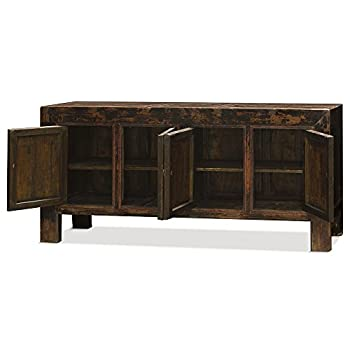 China Furniture Online Elmwood Sideboard, Vintage Tibetan Cabinet Distressed Red Finish