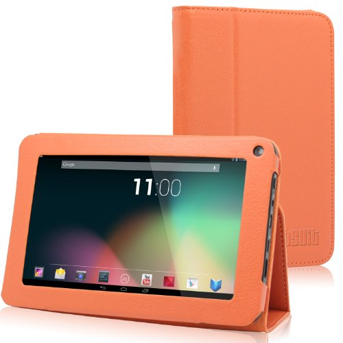 "TabSuit 7"" Orange PU Leather Folio Stand case for 7"" Dragon Touch A7, AKASO KingPad A7 Tablet [By TabletExpress]"
