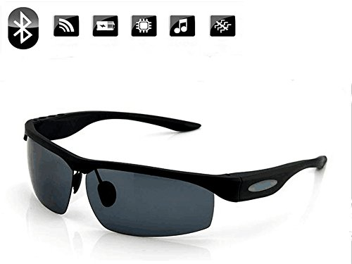 Sunglasses Headset,PHEVOS Smart Stereo Bluetooth 4.0 Sunglasses Polarized Glasses Voice Control Support Hand-free Calling Music (Black)