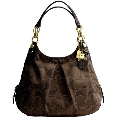 Coach Signature Outline Maggie Shoulder Bag Purse 16153 Mahogany
