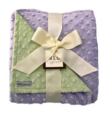 MEG Original Minky Dot Baby Girl Blanket Lavender/Green, 321 - 1
