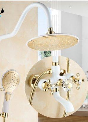 ODJG Di stile europeo e doccia bianca grigliata dipinto in bianco con rubinetti dorati Cu tutte le docce kit sollevamento Rubinetti da bagno , HOT e COLD CRYSTAL