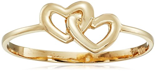 14k Italian Yellow Gold Entwined Hearts Ring, Size 8 (Gold Italian Ring compare prices)