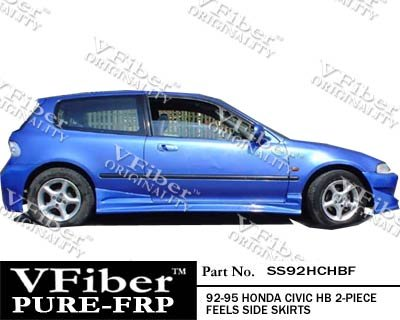 SS92HCHBF-Honda Civic 92-95 HB VFiber FRP Feels 2-piece Side Skirts