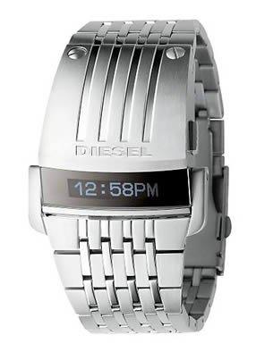 Diesel Men's DZ7080 Silver SBA LED Digital Mirror Dial Watch