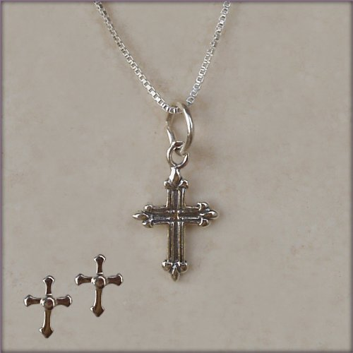Sterling Silver Children's First Communion Cross Charm Necklace and Earring Set for Girls in Gift Box, 14