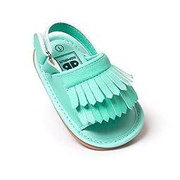 Fruitnut Unisex Baby Tassel Rubber Sole Non-slip Summer Prewalker Sandals First Walkers 12-18 Months Mint green