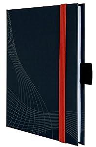 Avery Zweckform 7046 Hardcover Notizbuch notizio, gebunden, kariert, DIN A6, 90 g/m², 80 Blatt, dunkelgrau