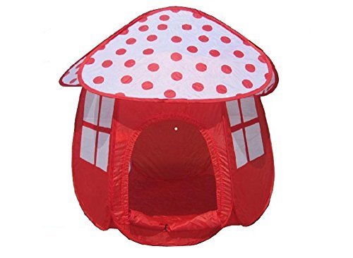 SKL Kids Ball House Hideaway Pop-Up Mushroom Shape Play Tent Cubby House - Children Indoor / Outdoor Play Tent Pit Ball Pool (Red Mushroon Shape) by SKL