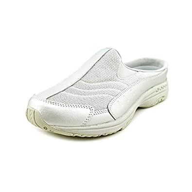 EASY SPIRIT TRAVELTIME COMFORT CLOG SILVER / GREY LEATHER WOMEN SHOE SIZE 11 M