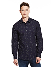 Autograph Pure Cotton Pheasant Print Slim Fit Shirt