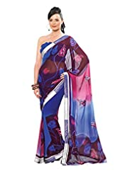 Anvi Creations Printed With Lacer Striped Blue Pink Georgette Saree (Blue_Free Size)