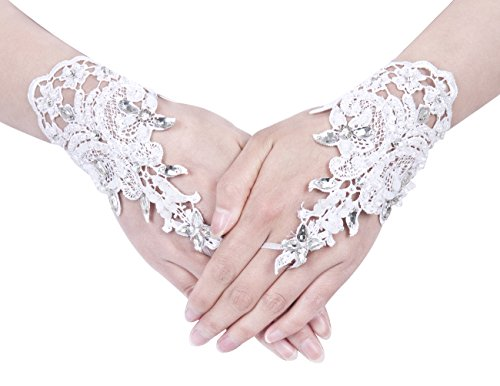 Dresstells Exquisite Fingerless Rhinestone Pearls Bridal Gloves Prom Gloves White-2
