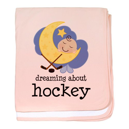 Cafepress Dreaming About Hockey Baby Blanket - Standard Petal Pink front-984227