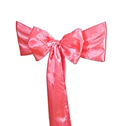WCAN 50 pieces 6 x 108 Inch ( 17 x 275cm ) Coral Satin Chair Sash Ribbon Bows for Wedding Party Chair Decoration