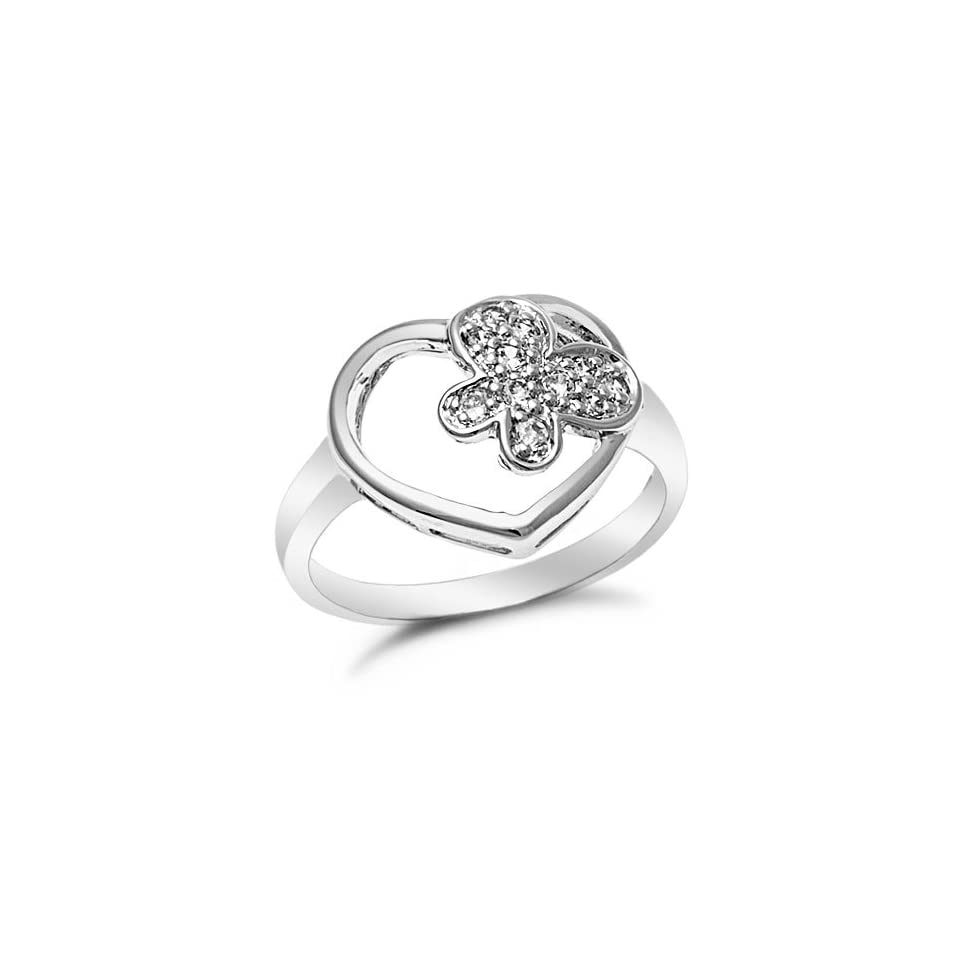Sterling Silver Open Heart Butterfly CZ Ring, 7