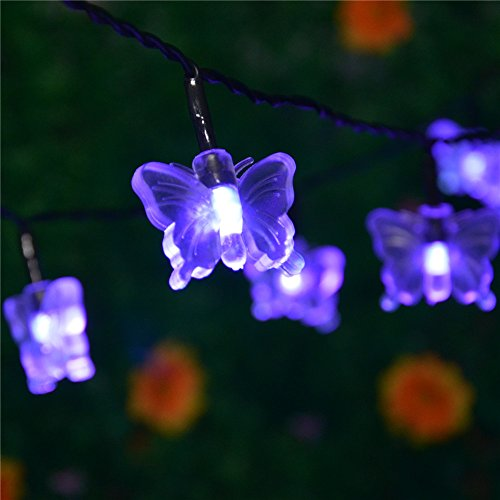 INST Solar Powered 20 LED Butterfly String Light, Ambiance Lighting, Great for Outdoor Use in ...