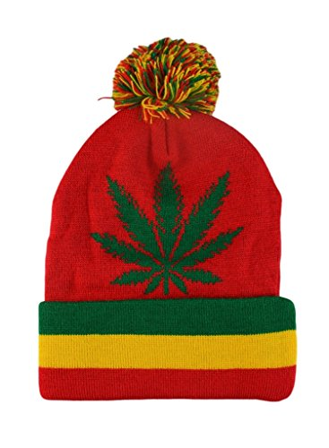Mens-Winter-Marijuana-Leaf-Pome-Thick-Long-Beanie-Skull-Hat-One-size-4Colors-RedGreen