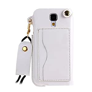 Case for Samsung Galaxy S4,Leather Case for Samsung Galaxy i9500,IKASEFU(TM) Luxury Slim PU Leather Simple Stand Skin Carrying Protective Case with Credit Card Holder for Samsung Galaxy S4 i9500(White)
