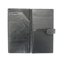Soft Leather Travel Document Case For Passport, Tickets, Travellers Cheques, Insurance, Money etc - Black Color.